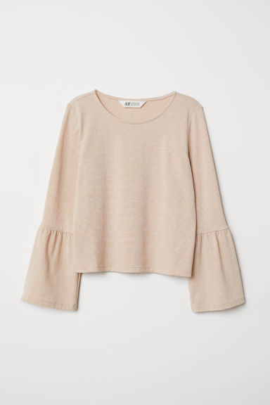Flounce-sleeved top - Powder pink/Gold-coloured - Kids | H&M