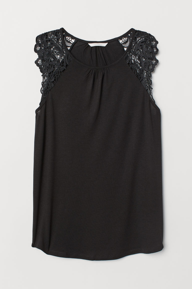 Jersey top with lace - Black - Ladies | H&M GB