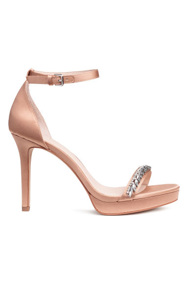 Satin sandals - Beige -  | H&M