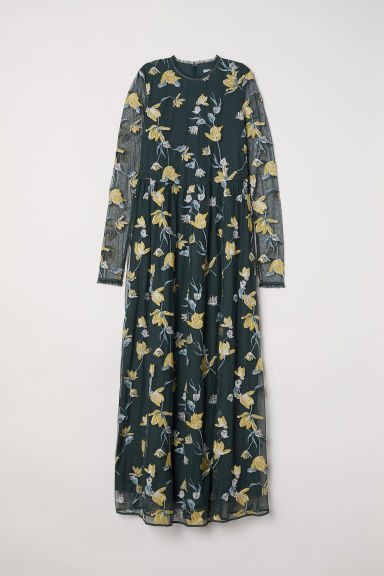 Long dress with embroidery - Dark green/Floral -  | H&M CN
