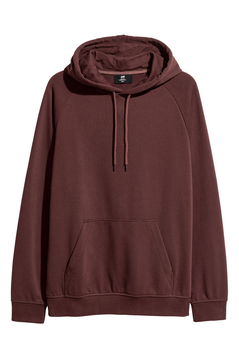 Hooded top with raglan sleeves - Burgundy - Men | H&M