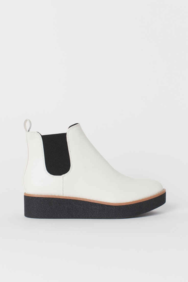 Imitation leather ankle boots - White - Ladies | H&M