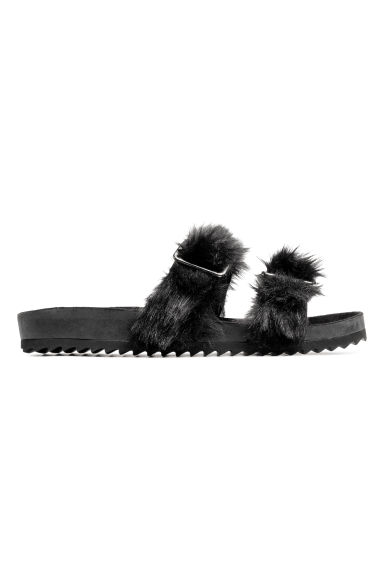 Slides with faux fur - Black -  | H&M GB