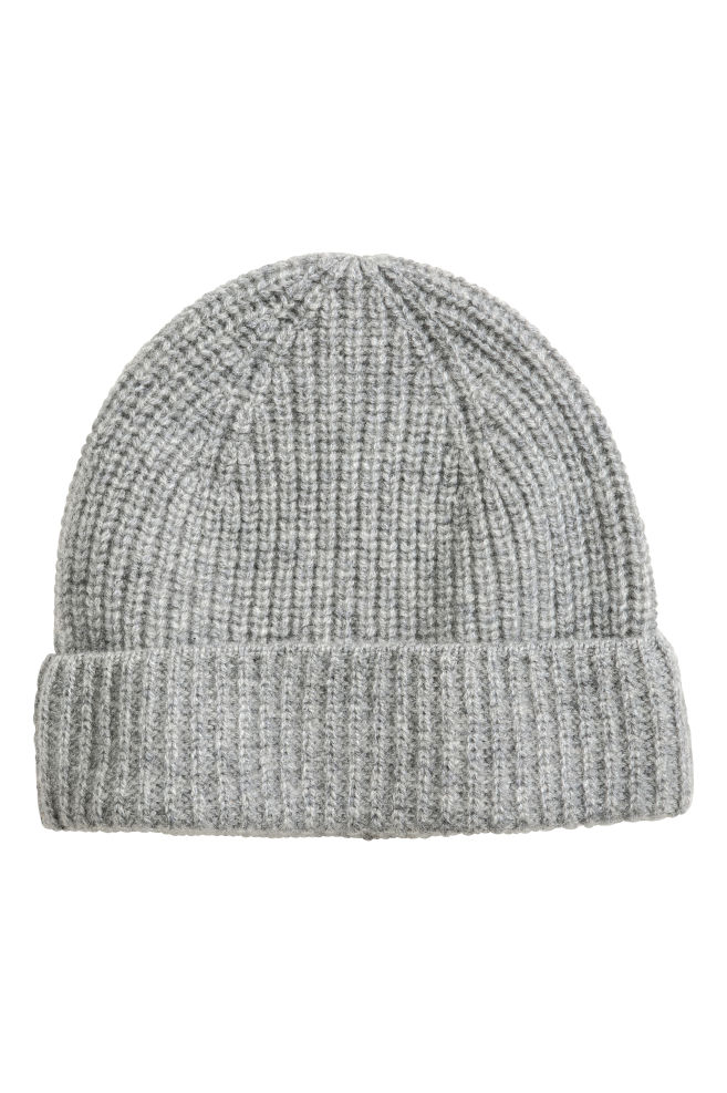 d0acb27802984 Ribbed cashmere hat - Light grey marl - Men