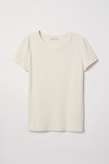 Silk-blend jersey top - Light yellow - Ladies | H&M