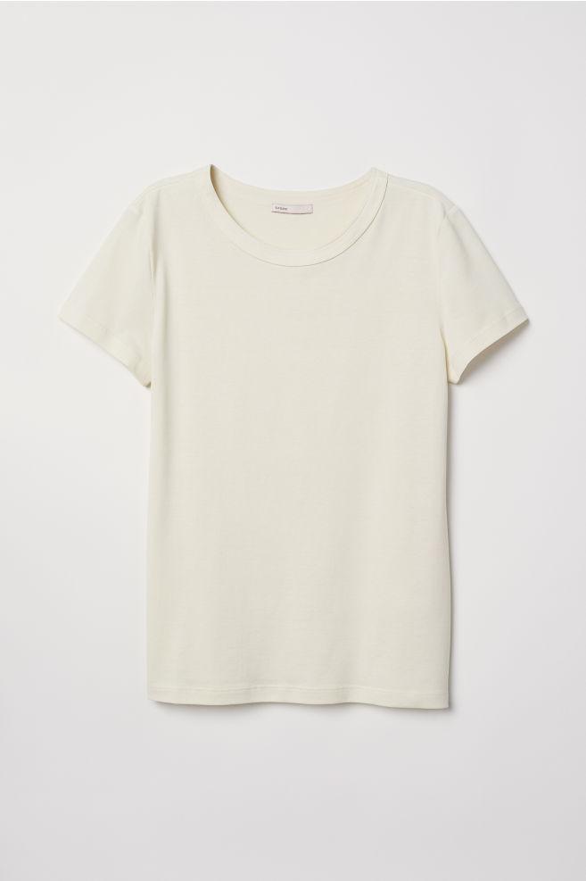 3ca9ed85a56 Top en jersey de soie mélangée - Jaune clair - FEMME