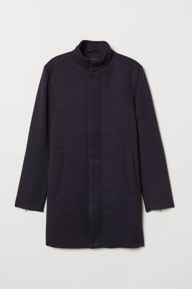 Coat with a stand-up collar - Dark blue - Men | H&M CN