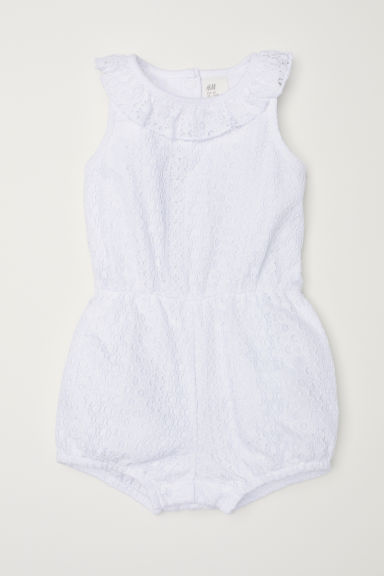 Lace romper suit - White -  | H&M CN