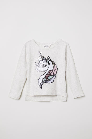 Appliquéd top - Light grey marl/Unicorn - Kids | H&M