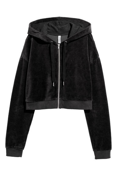 Cropped hooded velour jacket - Black -  | H&M