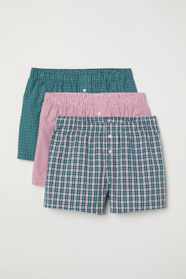 3-pack woven boxer shorts - Dark turquoise/Checked - Men | H&M CN