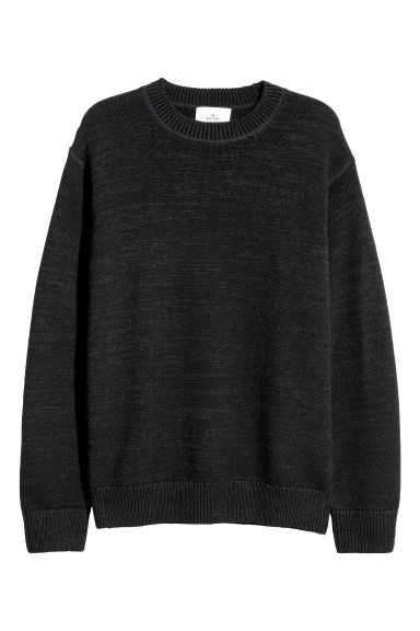 Cotton-blend jumper - Black - Men | H&M GB