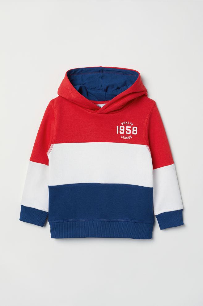 3e16220d3cb5e Sweat-shirt à capuche imprimé - Rouge/color block - ENFANT   H&M BE