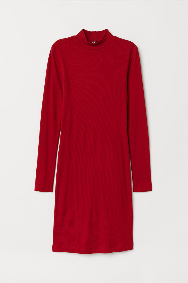 795f0c596c Mock Turtleneck Dress - Dark red - Ladies