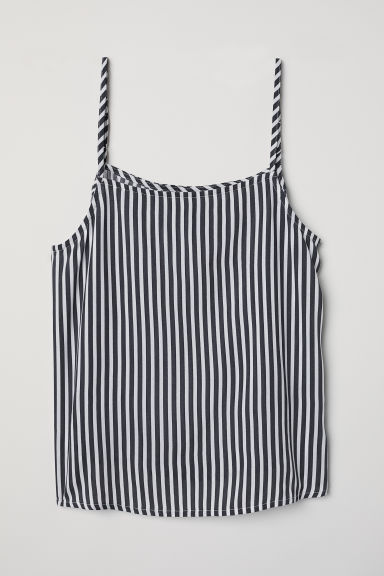 Viscose strappy top - White/Dark blue striped -  | H&M CN