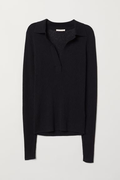 V-neck top with a collar - Black - Ladies | H&M CN