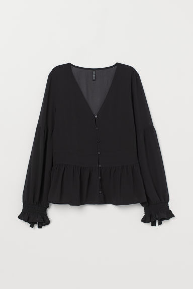 V-neck peplum blouse - Black -  | H&M