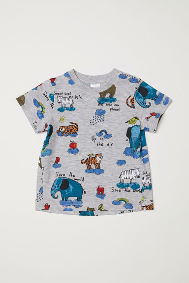 Printed T-shirt - Grey marl/Animals -  | H&M CN