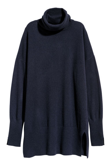 Cashmere polo-neck jumper - Dark blue -  | H&M CN