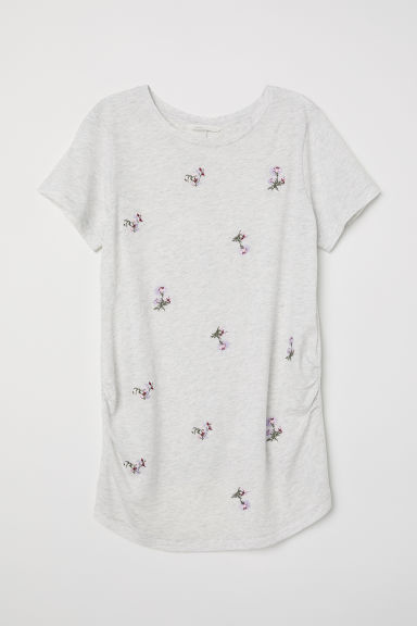 MAMA T-shirt with a motif - Light grey marl/Embroidery - Ladies | H&M CN