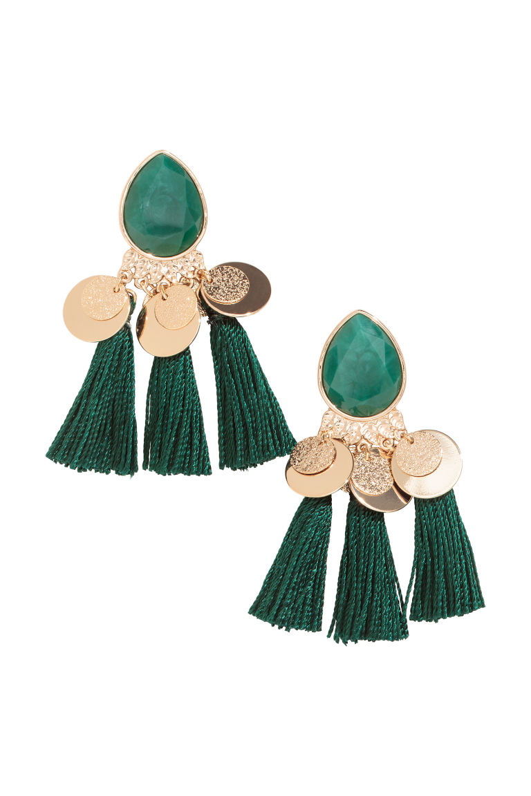 Tasselled earrings - Gold-coloured/Green - Ladies | H&M GB