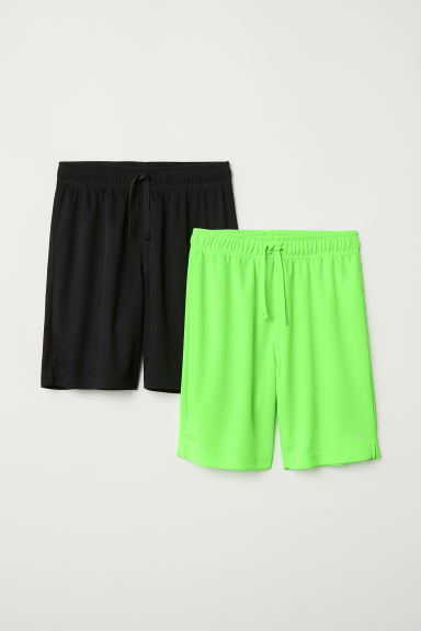 2-pack sports shorts - Neon green/Black - Kids | H&M