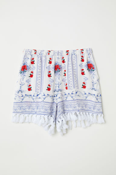 Short met dessin - Wit/blauw dessin - DAMES | H&M BE