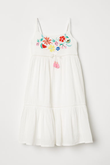 Cotton dress with embroidery - White/Flowers - Kids | H&M CN