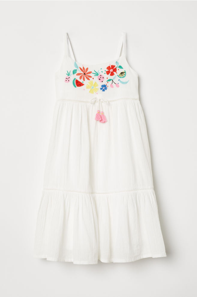 c6478d810 Cotton Dress with Embroidery - White flowers - Kids