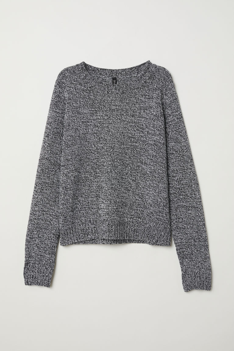 Knit Sweater - Black/white melange -  | H&M US