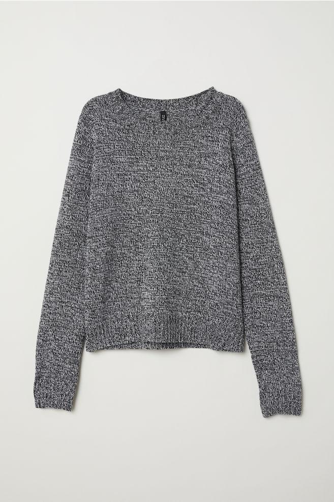 Knitted jumper - Black White marl - Ladies  5e8900b79