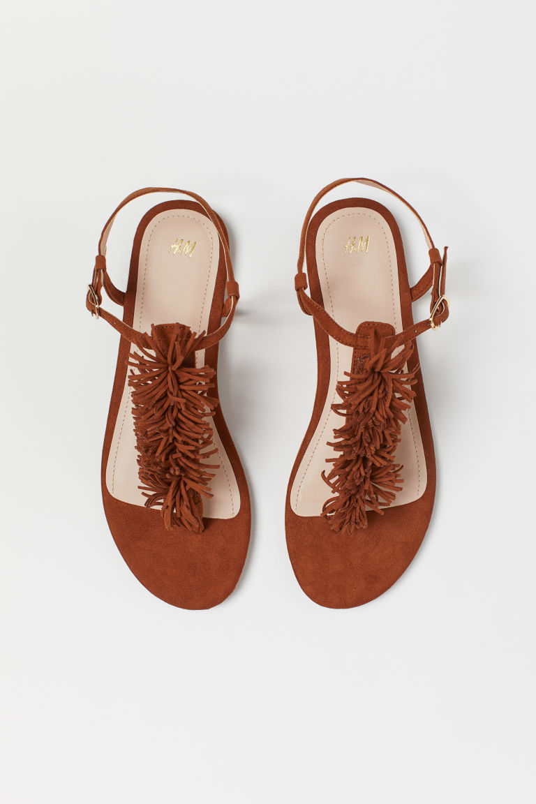 Sandals with Fringe - Brown - Ladies | H&M US