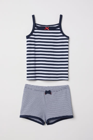 Jersey pyjamas - Black/White striped - Kids | H&M CN