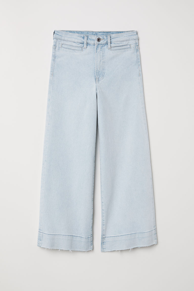 Pantalón amplio Talle alto - Azul denim claro - MUJER | H&M ES 1