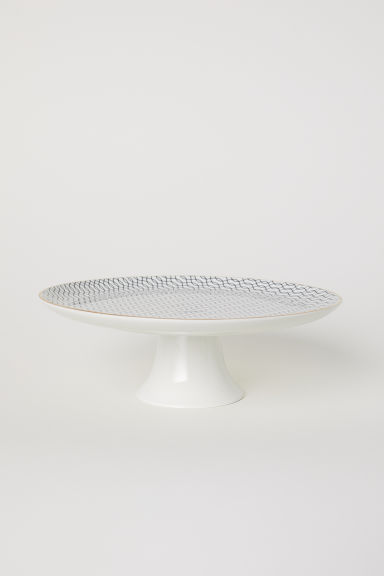 Porcelain cake stand - White/Black patterned - Home All | H&M CN