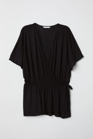 Jersey wrapover top - Black -  | H&M CN