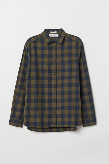 Oxford shirt Regular Fit - Khaki green/Blue checked - Men | H&M
