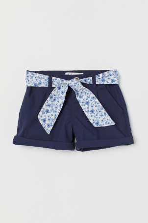 Cotton shorts with a belt