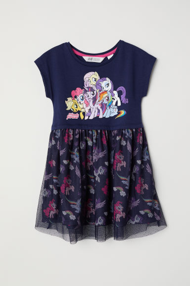 Dress with a tulle skirt - Dark blue/My Little Pony - Kids | H&M CN