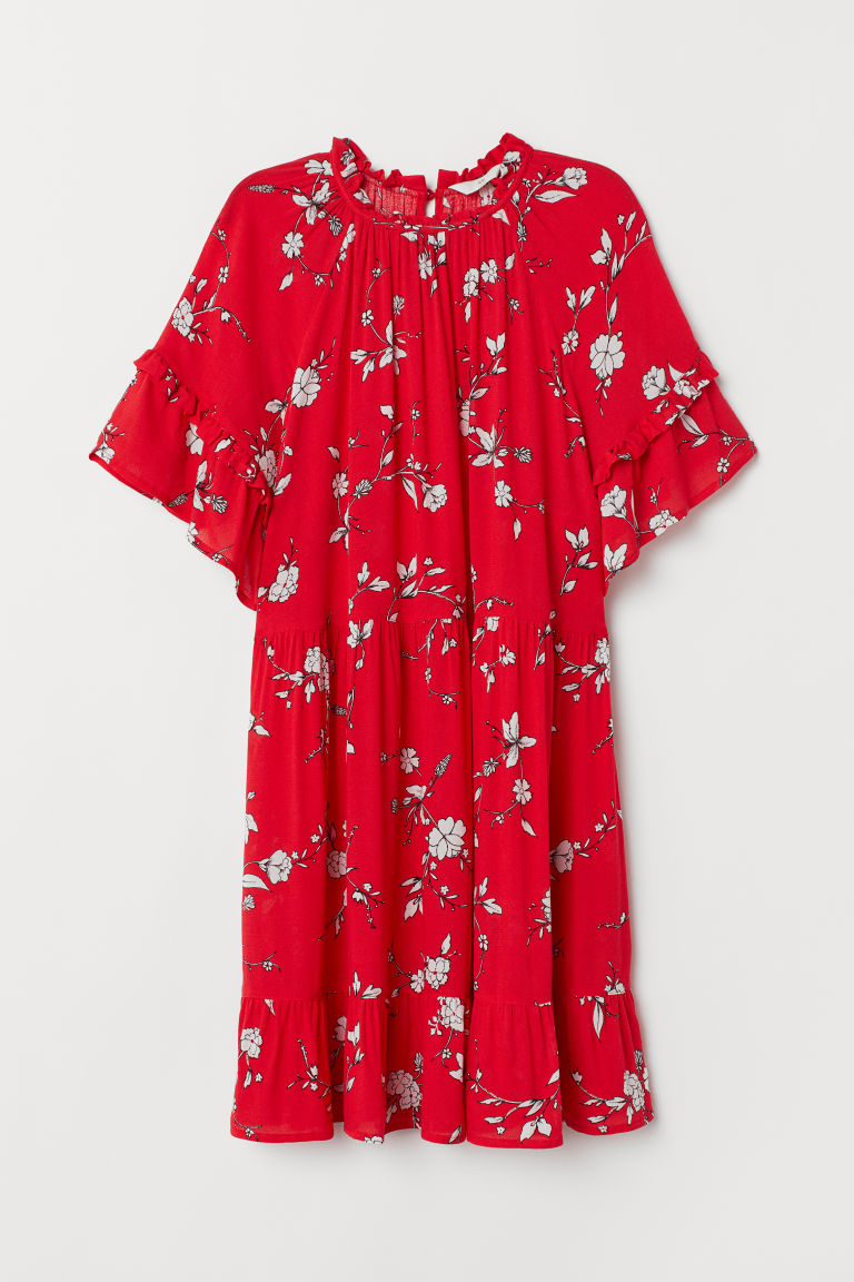 Flounced dress - Red/Floral - Ladies | H&M