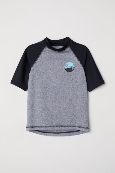 T-shirt with UPF 50 - Grey marl/Black -  | H&M CN