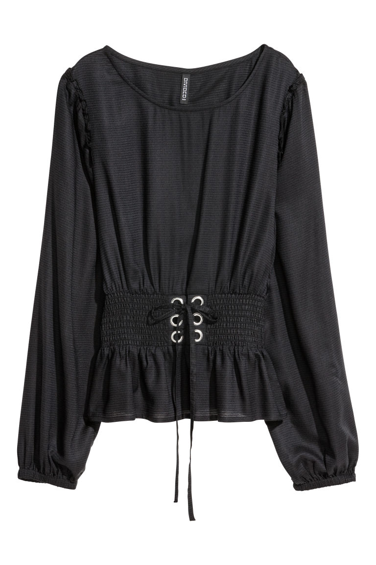 Blouse with smocking - Black - Ladies | H&M GB
