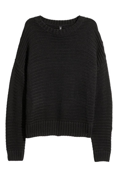 Textured-knit jumper - Black - Ladies | H&M IE