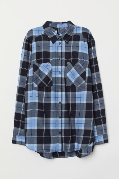 Cotton Shirt - Blue/black plaid -  | H&M CA