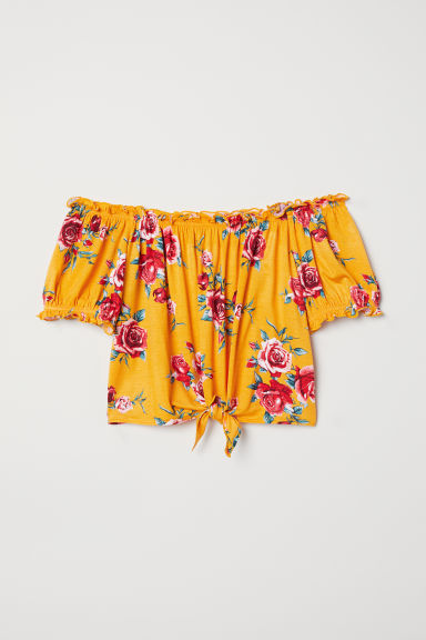 Off-the-shoulder top - Yellow/Floral - Ladies | H&M
