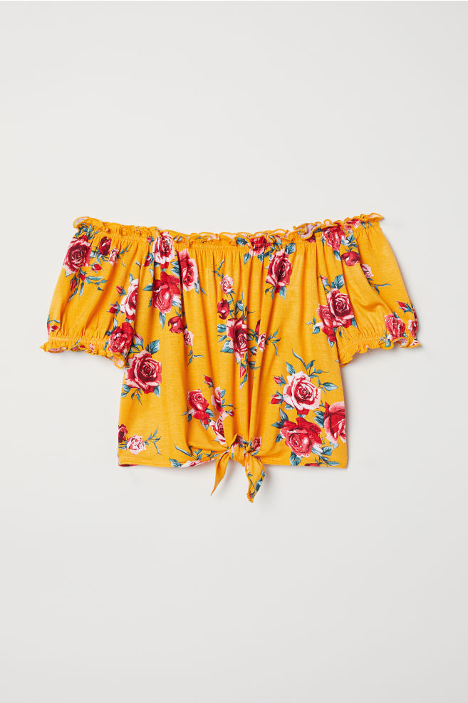d22be28ce87 Off-the-shoulder Top - Yellow/floral - | H&M ...