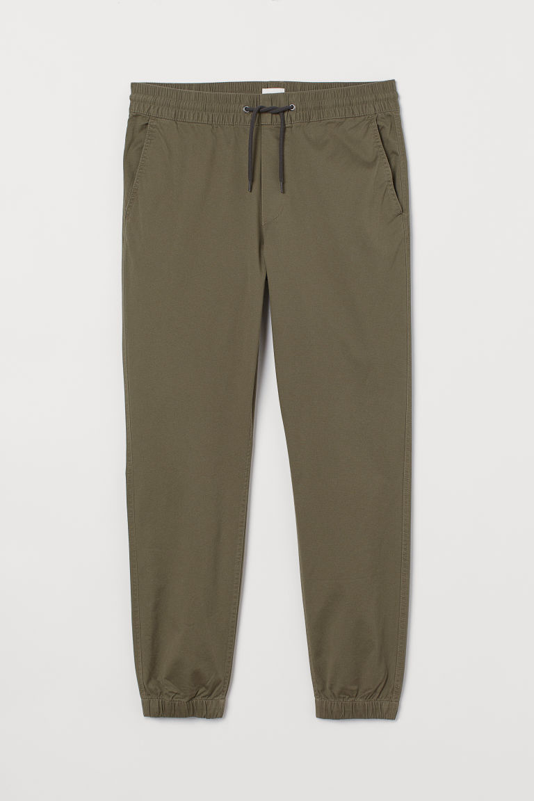 Brushed cotton twill joggers - Dark khaki green - Men | H&M