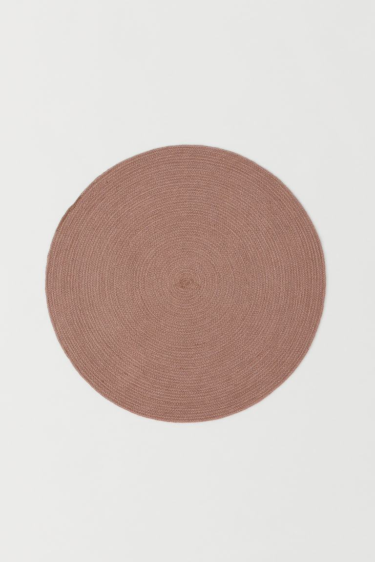Round Jute Floor Mat - Light pink - Home All | H&M CA