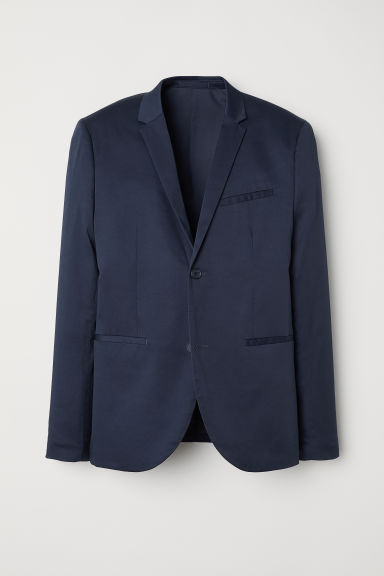Blazer in cotone Skinny fit - Blu scuro - UOMO | H&M IT