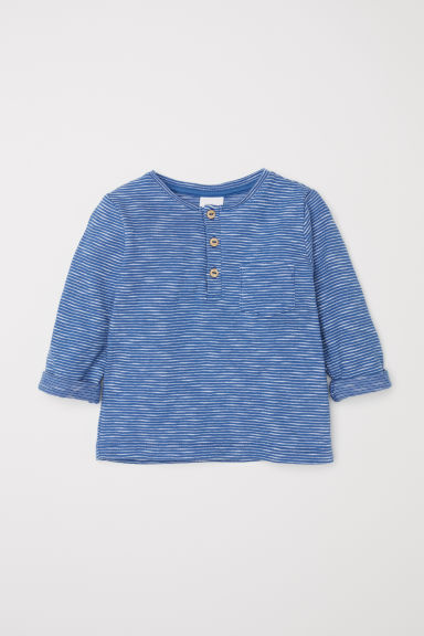 Slub jersey Henley shirt - Blue/White striped - Kids | H&M CN
